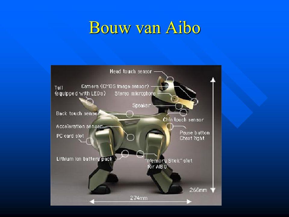 Wat is Aibo???? Is een speelgoed hond (embedded system) ontworpen door Sony, die instaat is te reageren op zijn omgeving d.m.v verschillende sensoren.
