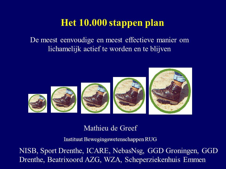 Het 10.000 stappen plan De meest eenvoudige en meest effectieve manier om lichamelijk actief te worden en te blijven Mathieu de Greef Instituut Bewegi