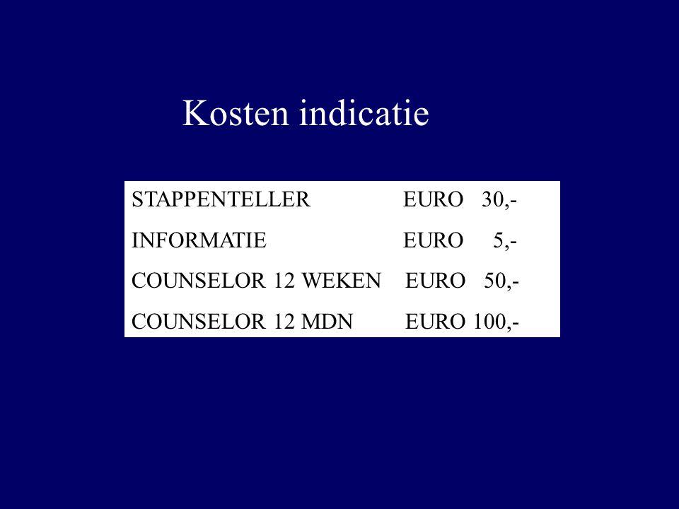 Kosten indicatie STAPPENTELLER EURO 30,- INFORMATIEEURO 5,- COUNSELOR 12 WEKEN EURO 50,- COUNSELOR 12 MDN EURO 100,-