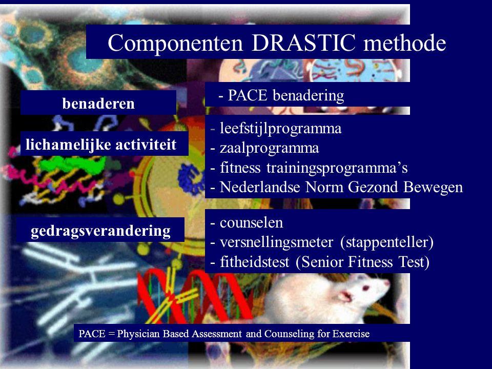 Componenten DRASTIC methode benaderen - PACE benadering lichamelijke activiteit - leefstijlprogramma - zaalprogramma - fitness trainingsprogramma's -