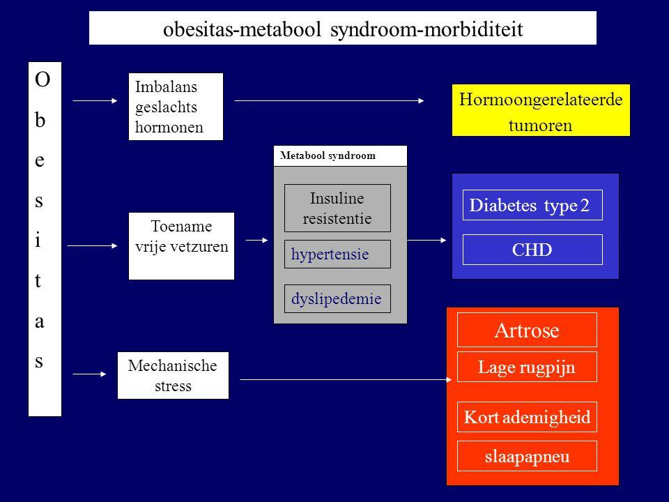 Insuline resistentie Toename vrije vetzuren Mechanische stress Imbalans geslachts hormonen Metabool syndroom hypertensie dyslipedemie ObesitasObesitas
