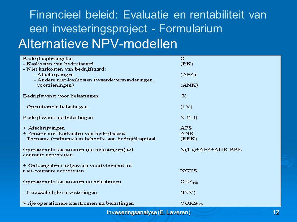 Inveseringsanalyse (E. Laveren) 12 Financieel beleid: Evaluatie en rentabiliteit van een investeringsproject - Formularium Alternatieve NPV-modellen