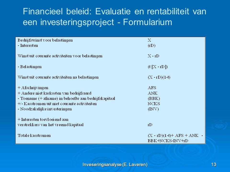 Inveseringsanalyse (E. Laveren) 13 Financieel beleid: Evaluatie en rentabiliteit van een investeringsproject - Formularium
