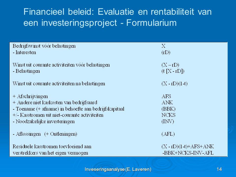 Inveseringsanalyse (E. Laveren) 14 Financieel beleid: Evaluatie en rentabiliteit van een investeringsproject - Formularium