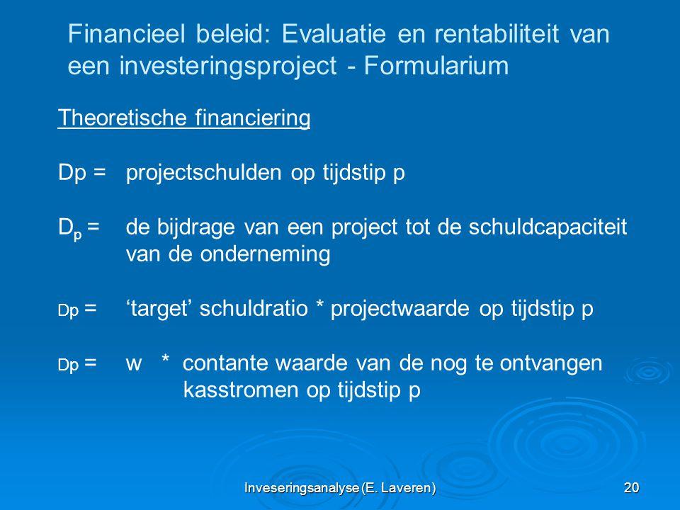 Inveseringsanalyse (E. Laveren) 20 Financieel beleid: Evaluatie en rentabiliteit van een investeringsproject - Formularium Theoretische financiering D