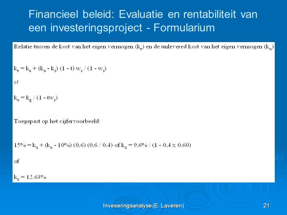 Inveseringsanalyse (E. Laveren) 21 Financieel beleid: Evaluatie en rentabiliteit van een investeringsproject - Formularium