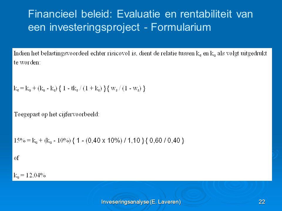 Inveseringsanalyse (E. Laveren) 22 Financieel beleid: Evaluatie en rentabiliteit van een investeringsproject - Formularium