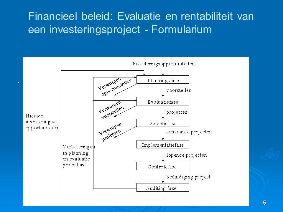 Inveseringsanalyse (E. Laveren) 5 Financieel beleid: Evaluatie en rentabiliteit van een investeringsproject - Formularium.