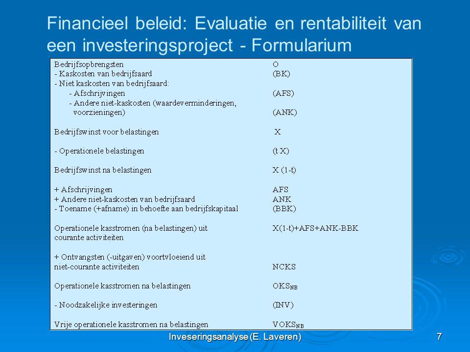 Inveseringsanalyse (E. Laveren) 7 Financieel beleid: Evaluatie en rentabiliteit van een investeringsproject - Formularium