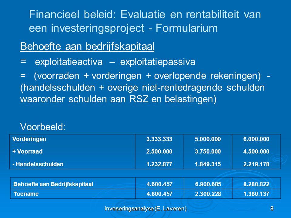 Inveseringsanalyse (E. Laveren) 8 Financieel beleid: Evaluatie en rentabiliteit van een investeringsproject - Formularium Behoefte aan bedrijfskapitaa