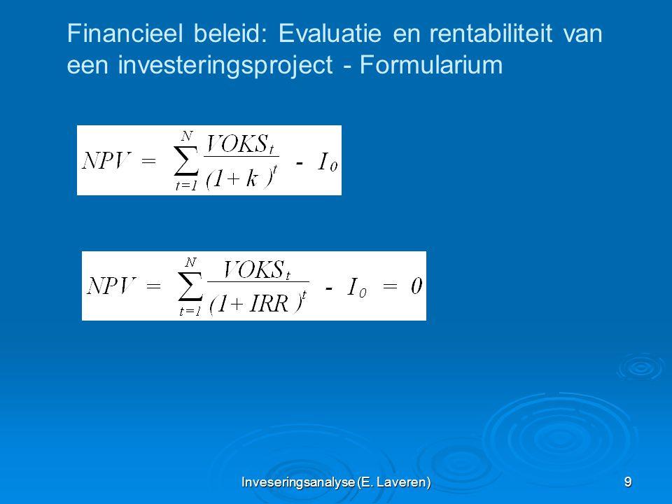 Inveseringsanalyse (E. Laveren) 9 Financieel beleid: Evaluatie en rentabiliteit van een investeringsproject - Formularium