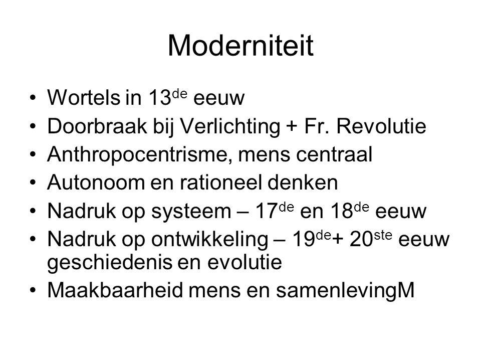 Moderniteit •Wortels in 13 de eeuw •Doorbraak bij Verlichting + Fr.