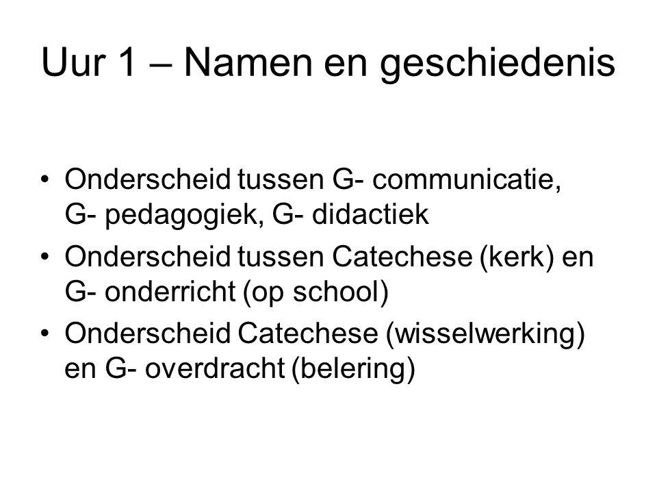 Uur 1 – Namen en geschiedenis •Onderscheid tussen G- communicatie, G- pedagogiek, G- didactiek •Onderscheid tussen Catechese (kerk) en G- onderricht (op school) •Onderscheid Catechese (wisselwerking) en G- overdracht (belering)