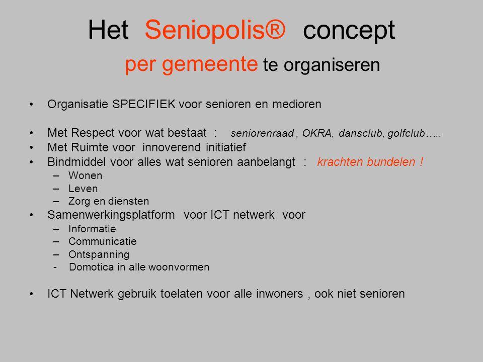 Het Seniopolis® concept per gemeente te organiseren •Organisatie SPECIFIEK voor senioren en medioren •Met Respect voor wat bestaat : seniorenraad, OKR