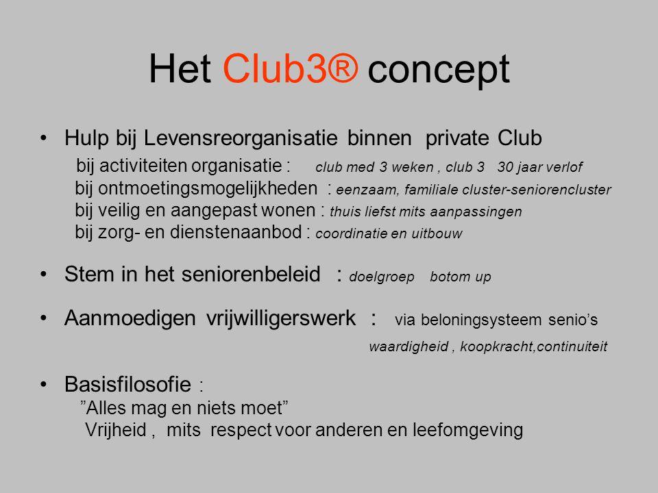 Het Club3® concept •Hulp bij Levensreorganisatie binnen private Club bij activiteiten organisatie : club med 3 weken, club 3 30 jaar verlof bij ontmoe