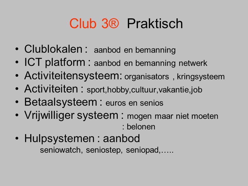 Club 3® Praktisch •Clublokalen : aanbod en bemanning •ICT platform : aanbod en bemanning netwerk •Activiteitensysteem: organisators, kringsysteem •Act