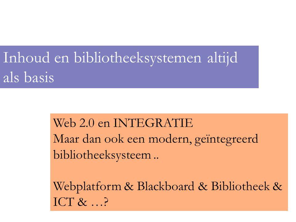 Geen doel op zich, maar extra! Inhoud en bibliotheeksystemen altijd als basis Web 2.0 en INTEGRATIE Maar dan ook een modern, geïntegreerd bibliotheeks