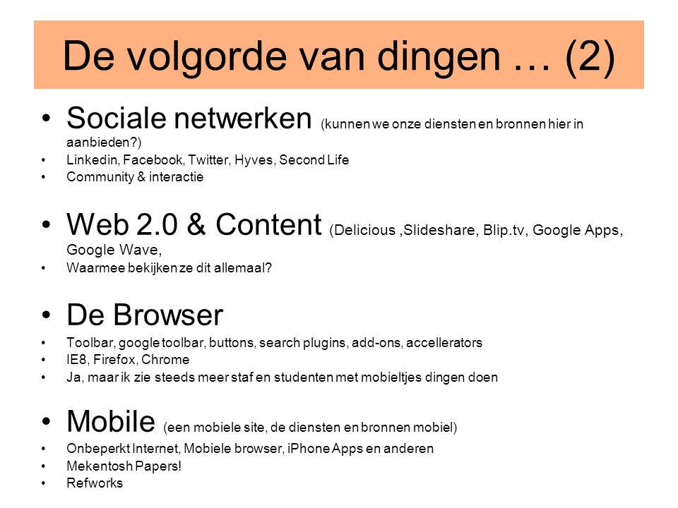 De volgorde van dingen … (2) •Sociale netwerken (kunnen we onze diensten en bronnen hier in aanbieden?) •Linkedin, Facebook, Twitter, Hyves, Second Li