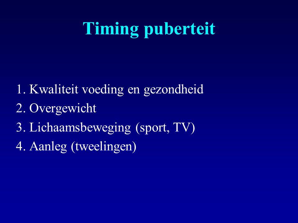 Timing puberteit 1.Kwaliteit voeding en gezondheid 2.