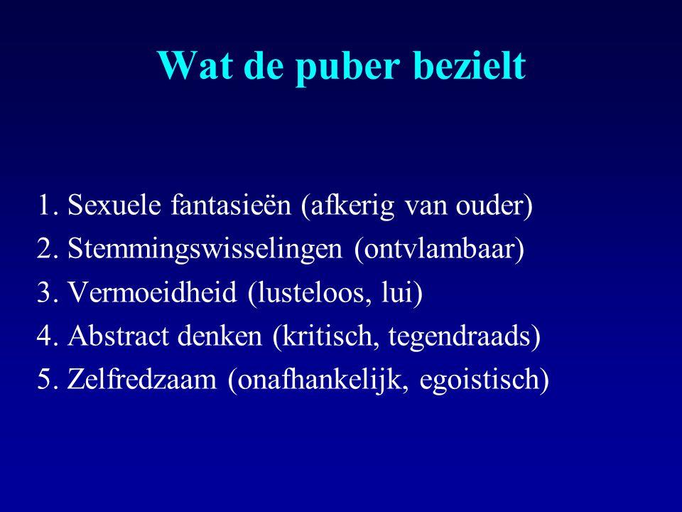 Wat de puber bezielt 1.Sexuele fantasieën (afkerig van ouder) 2.