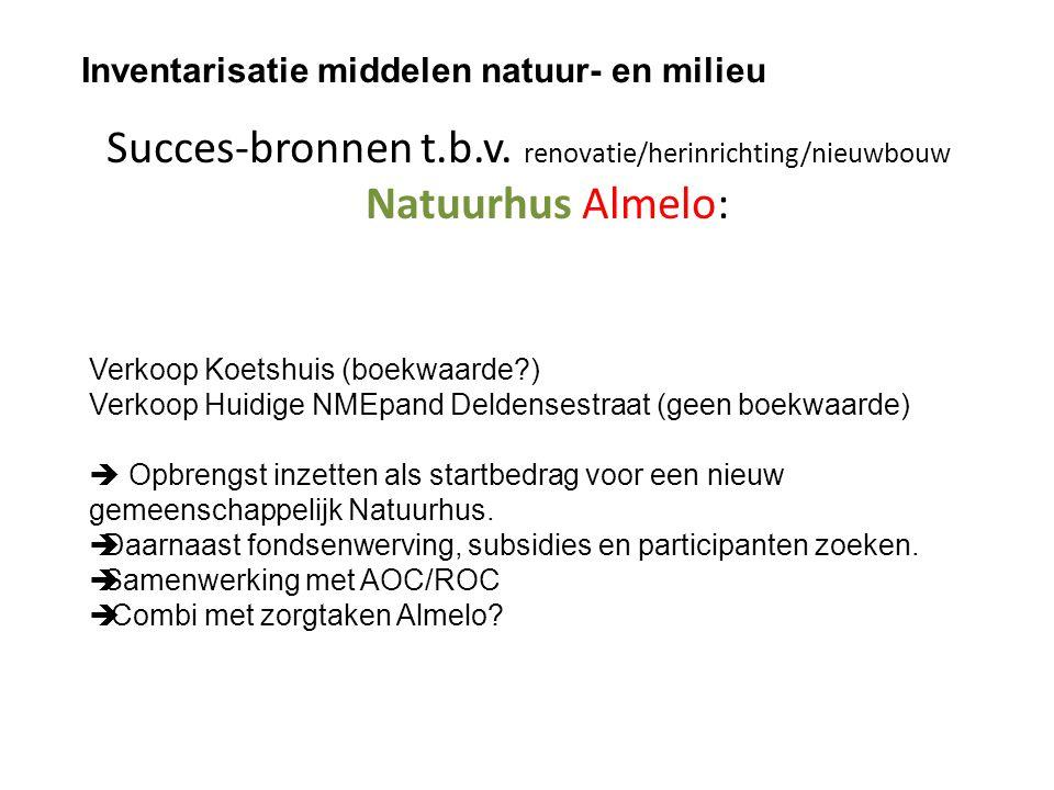 Succes-bronnen t.b.v. renovatie/herinrichting/nieuwbouw Natuurhus Almelo: Inventarisatie middelen natuur- en milieu Verkoop Koetshuis (boekwaarde?) Ve