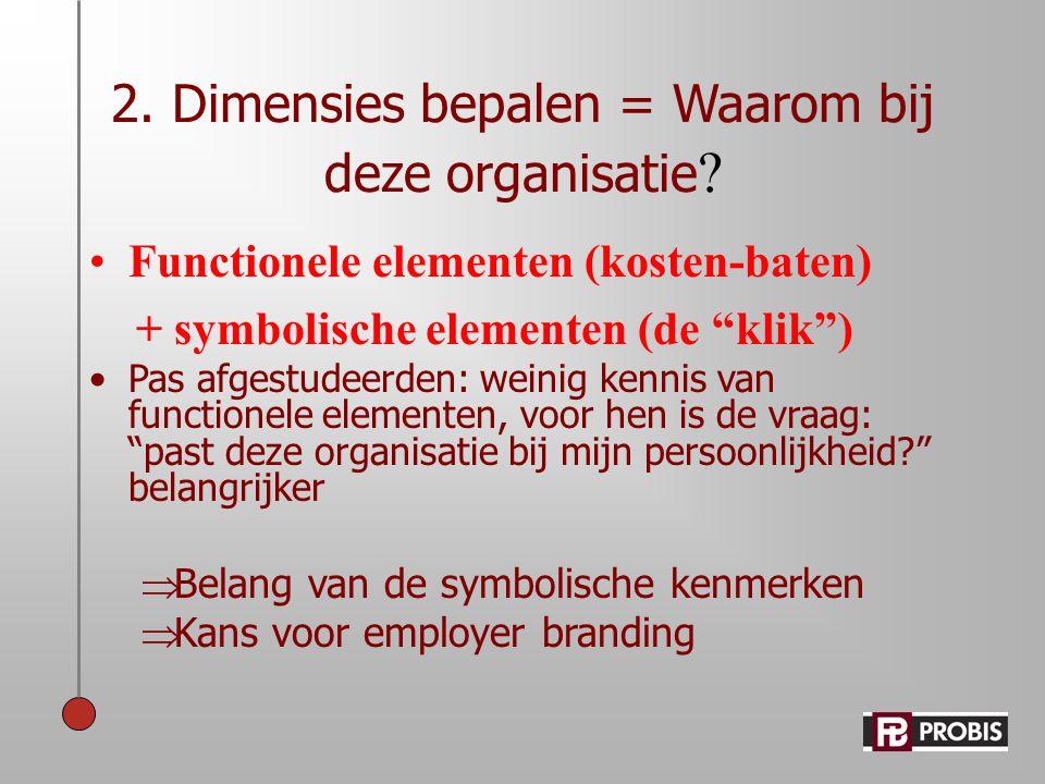 """2. Dimensies bepalen = Waarom bij deze organisatie ? •Functionele elementen (kosten-baten) + symbolische elementen (de """"klik"""") •Pas afgestudeerden: we"""