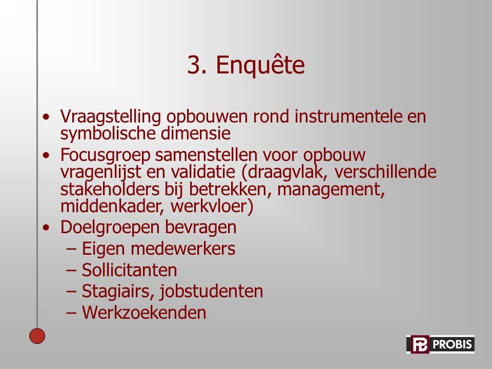 3. Enquête •Vraagstelling opbouwen rond instrumentele en symbolische dimensie •Focusgroep samenstellen voor opbouw vragenlijst en validatie (draagvlak