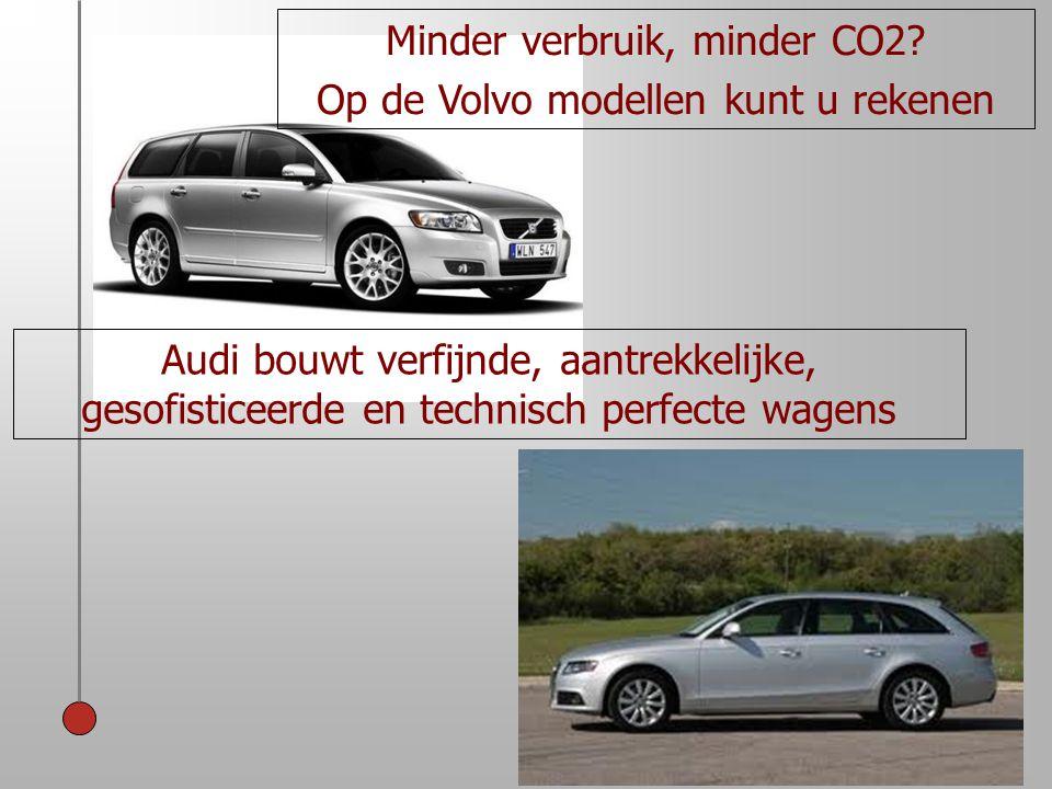 Audi bouwt verfijnde, aantrekkelijke, gesofisticeerde en technisch perfecte wagens Minder verbruik, minder CO2? Op de Volvo modellen kunt u rekenen