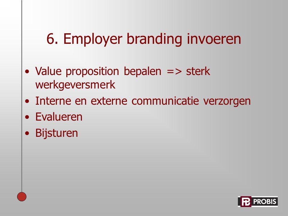 6. Employer branding invoeren •Value proposition bepalen => sterk werkgeversmerk •Interne en externe communicatie verzorgen •Evalueren •Bijsturen