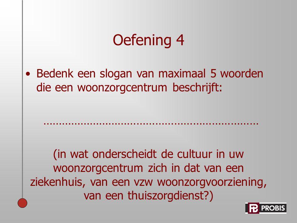 Oefening 4 •Bedenk een slogan van maximaal 5 woorden die een woonzorgcentrum beschrijft: …………………………………………………………… (in wat onderscheidt de cultuur in uw