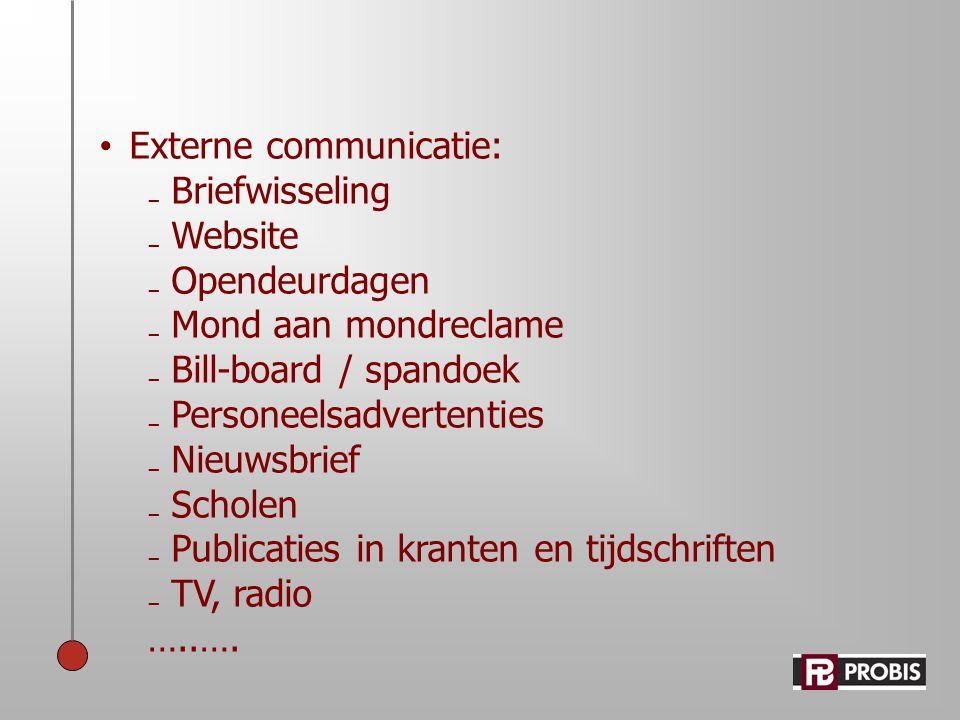 • Externe communicatie: ₋ Briefwisseling ₋ Website ₋ Opendeurdagen ₋ Mond aan mondreclame ₋ Bill-board / spandoek ₋ Personeelsadvertenties ₋ Nieuwsbri