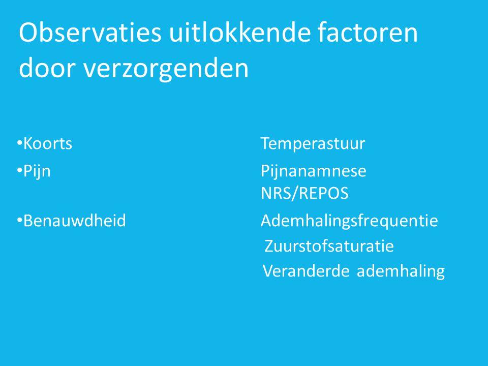 Observaties uitlokkende factoren door verzorgenden • KoortsTemperastuur • PijnPijnanamnese NRS/REPOS • BenauwdheidAdemhalingsfrequentie Zuurstofsaturatie Veranderde ademhaling
