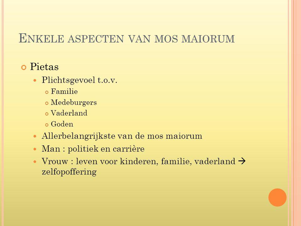 E NKELE ASPECTEN VAN MOS MAIORUM Pietas  Plichtsgevoel t.o.v. Familie Medeburgers Vaderland Goden  Allerbelangrijkste van de mos maiorum  Man : pol
