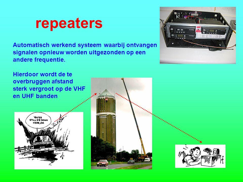 repeaters Automatisch werkend systeem waarbij ontvangen signalen opnieuw worden uitgezonden op een andere frequentie.