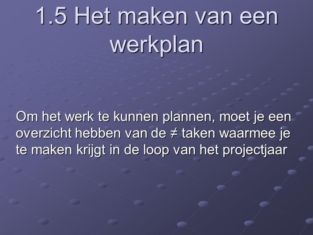 1.5 Het maken van een werkplan Om het werk te kunnen plannen, moet je een overzicht hebben van de ≠ taken waarmee je te maken krijgt in de loop van het projectjaar