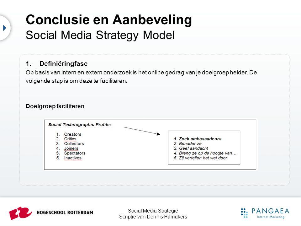 Social Media Strategie Scriptie van Dennis Hamakers 1.Definiëringfase Op basis van intern en extern onderzoek is het online gedrag van je doelgroep he