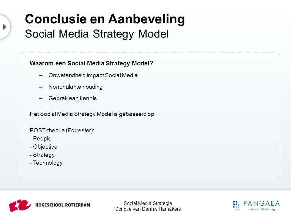 Social Media Strategie Scriptie van Dennis Hamakers Conclusie en Aanbeveling Social Media Strategy Model