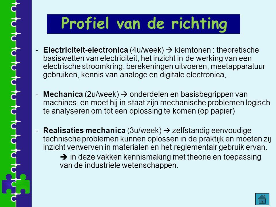 -Electriciteit-electronica (4u/week)  klemtonen : theoretische basiswetten van electriciteit, het inzicht in de werking van een electrische stroomkri