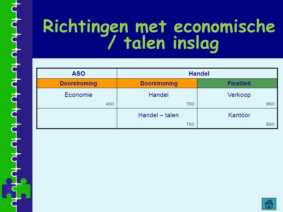 Richtingen met economische / talen inslag ASOHandel Doorstroming Finaliteit Economie ASO Handel TSO Verkoop BSO Handel – talen TSO Kantoor BSO
