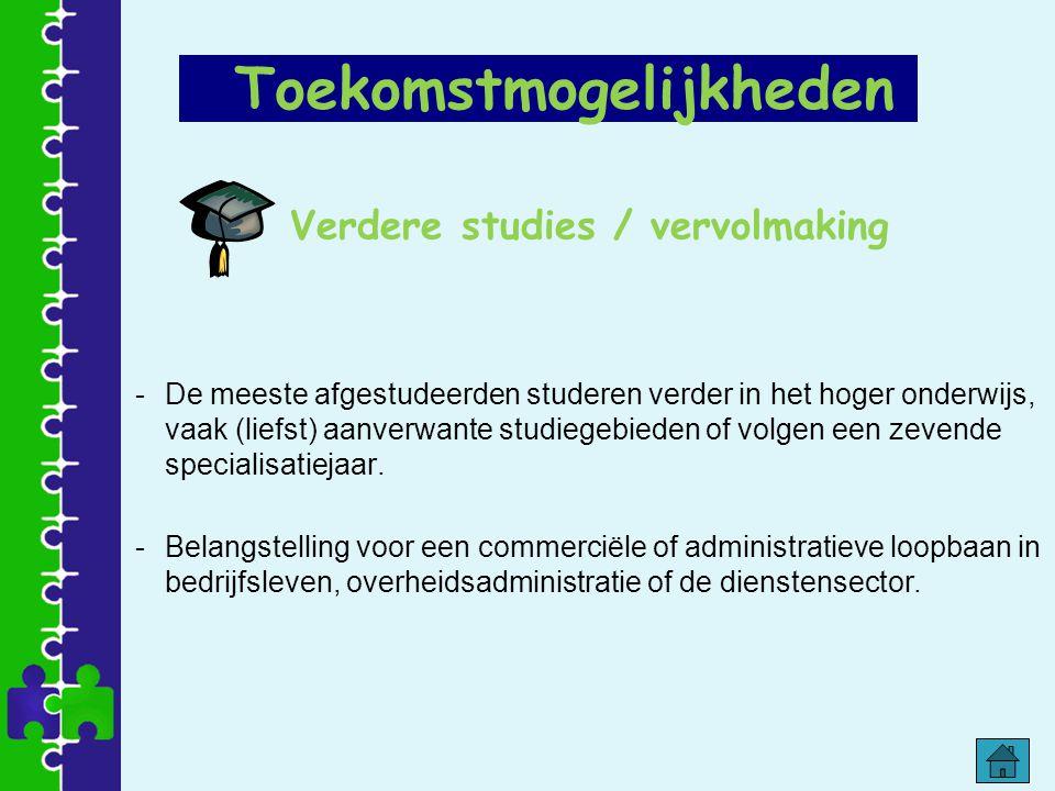 Verdere studies / vervolmaking -De meeste afgestudeerden studeren verder in het hoger onderwijs, vaak (liefst) aanverwante studiegebieden of volgen ee