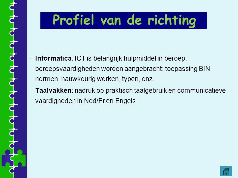 -Informatica: ICT is belangrijk hulpmiddel in beroep, beroepsvaardigheden worden aangebracht: toepassing BIN normen, nauwkeurig werken, typen, enz. -T