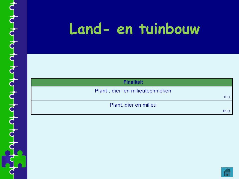 Land- en tuinbouw Finaliteit Plant-, dier- en milieutechnieken TSO Plant, dier en milieu BSO