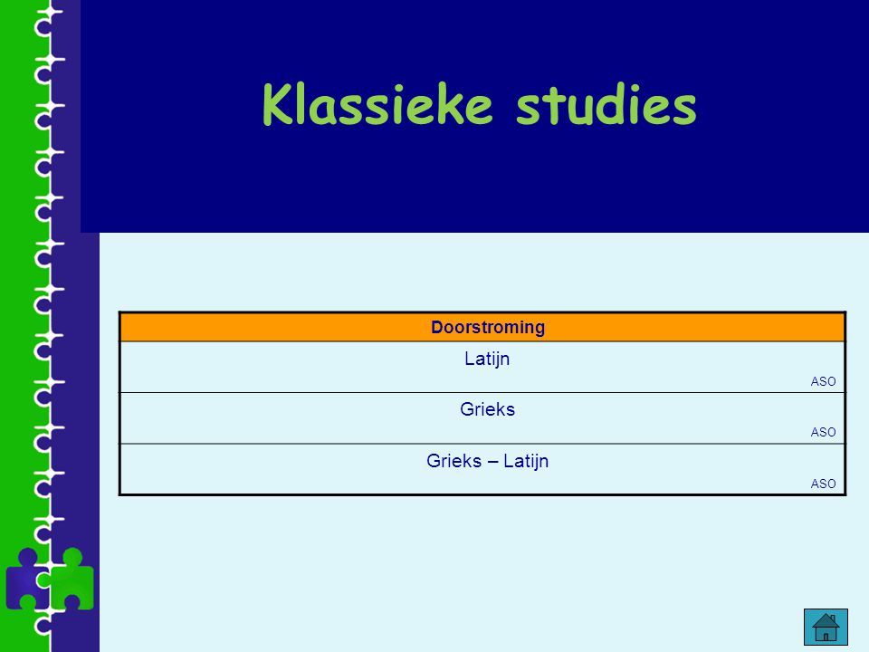 Klassieke studies Doorstroming Latijn ASO Grieks ASO Grieks – Latijn ASO