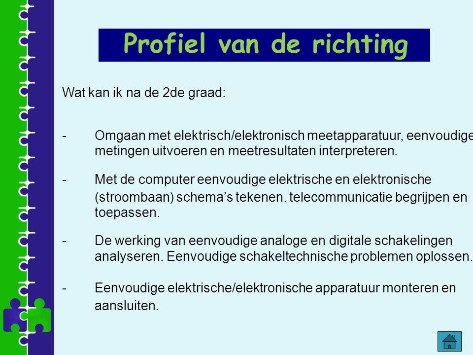 Wat kan ik na de 2de graad: -Omgaan met elektrisch/elektronisch meetapparatuur, eenvoudige metingen uitvoeren en meetresultaten interpreteren. -Met de