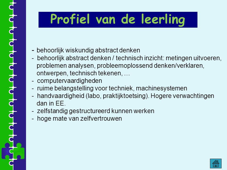 - behoorlijk wiskundig abstract denken - behoorlijk abstract denken / technisch inzicht: metingen uitvoeren, problemen analysen, probleemoplossend den