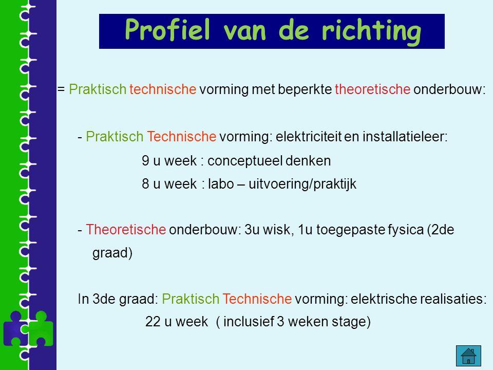 Profiel van de richting = Praktisch technische vorming met beperkte theoretische onderbouw: - Praktisch Technische vorming: elektriciteit en installat