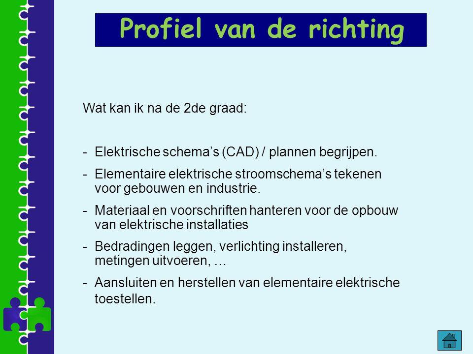 Profiel van de richting Wat kan ik na de 2de graad: -Elektrische schema's (CAD) / plannen begrijpen. -Elementaire elektrische stroomschema's tekenen v