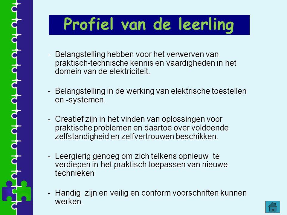 Profiel van de leerling -Belangstelling hebben voor het verwerven van praktisch-technische kennis en vaardigheden in het domein van de elektriciteit.