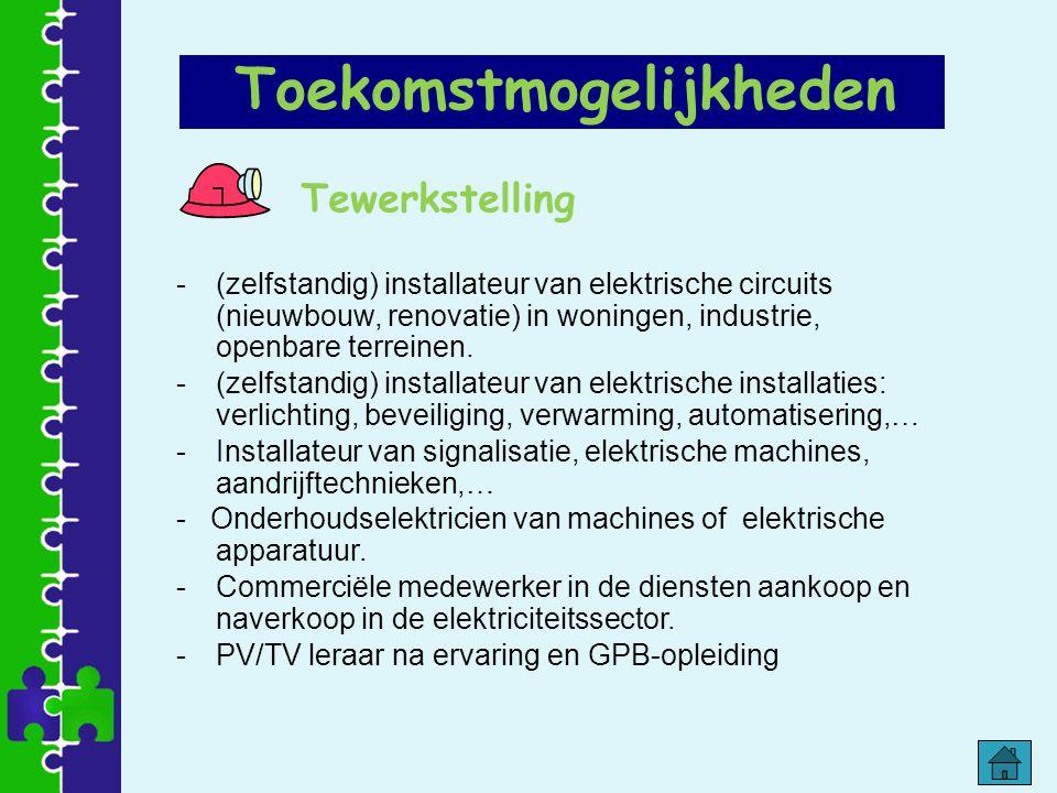 Tewerkstelling -(zelfstandig) installateur van elektrische circuits (nieuwbouw, renovatie) in woningen, industrie, openbare terreinen. -(zelfstandig)