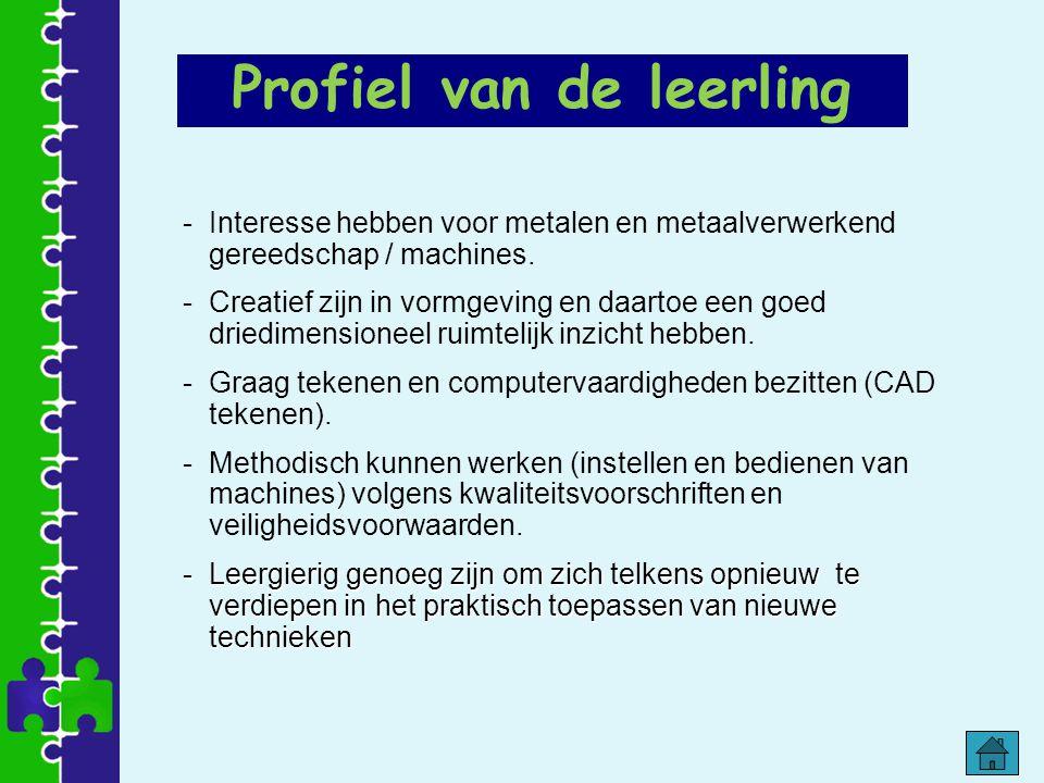 Profiel van de leerling -Interesse hebben voor metalen en metaalverwerkend gereedschap / machines. -Creatief zijn in vormgeving en daartoe een goed dr